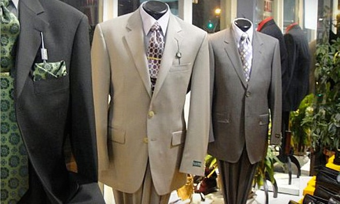 Men's Designer Fashion Outlet - Boston: $225 for One Designer Suit (Up to $490 Value) or $20 for $40 Worth of Accessories at Men's Designer Fashion Outlet