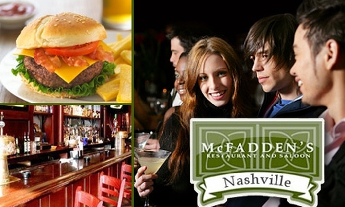 McFadden's Restaurant and Saloon - Downtown Nashville: $15 for $30 Worth of Pub Fare and Drinks at McFadden's Restaurant and Saloon