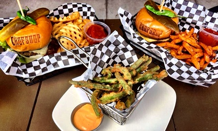 Burgers at Carrollton Chop Shop Sports Garage (Up to 53% Off). Two Options Available.