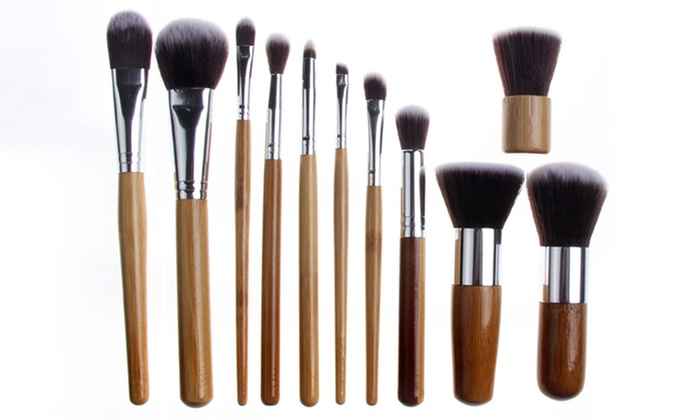 Bliss & Grace Bamboo Makeup Brush Set with Travel Pouch (11-Piece)
