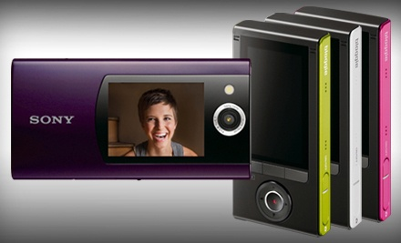 Violet Sony Bloggie MHS-FS2 Duo HD Camera and Camcorder (a $176 total value) - Sony Duo HD Camera and Camcorder in