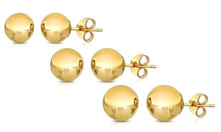 Solid 14K Gold Ball Stud Earrings