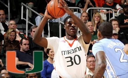 University of Miami Men's Basketball Team vs. University of North Carolina: Upper-Level - University of Miami Men's Basketball Team in Coral Gables
