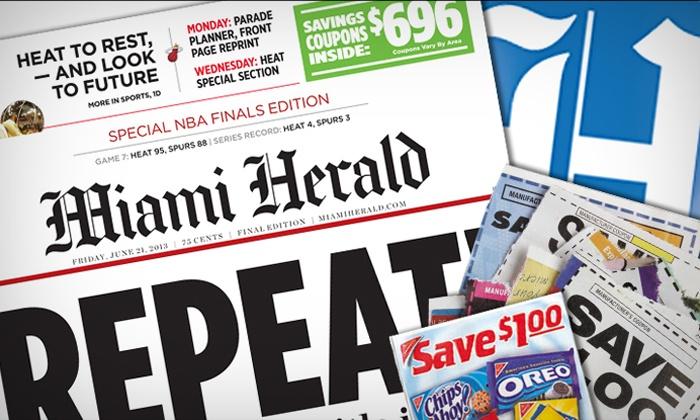"Miami Herald - Miami: $9 for 12-Month Sunday Home Delivery to the ""Miami Herald"" ($80.13 Value)"