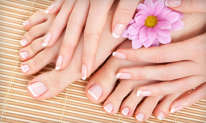 Solace Tanning and Esthetics - Bayridge West: Shellac Manicure or Traditional Mani-Pedi at Solace Tanning and Esthetics