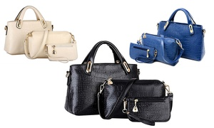 Three Crocodile-Pattern Tote Bags