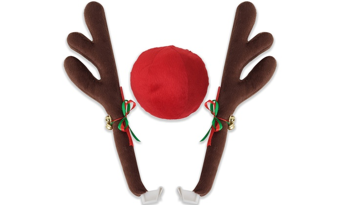 Reindeer Antlers and Rudolph Nose Holiday Car Costume (3-Piece): Reindeer Antlers and Rudolph Nose Holiday Car Costume (3-Piece)