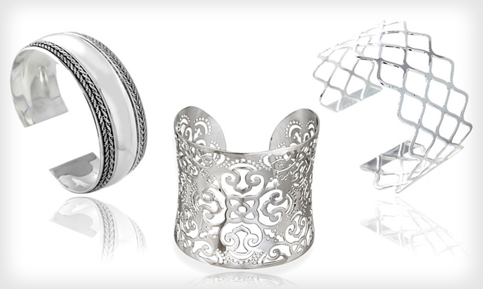 Cuff Bracelets: Stainless-Steel and Sterling-Silver Cuff Bracelets (Up to 75% Off). 14 Styles Available. Free Shipping and Free Returns.