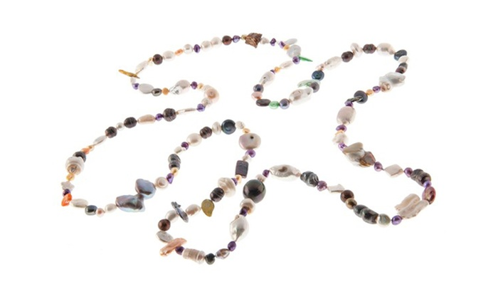 """60"""" Multicolor Freshwater-Pearl Necklace: 60"""" Long Endless Multicolor Freshwater-Pearl Necklace"""