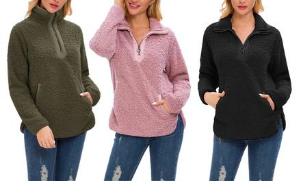 Women/'s Asymmetrical Snap Neck Long Sleeves Stand Collar Fleece Pullover Tops