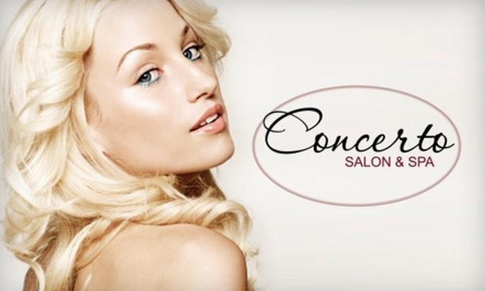 Concerto Salon & Spa - Valencia: $47 for a Haircut and Style, Mini Facial, and Eyebrow Waxing at Concerto Salon & Spa in Valencia ($118 Value)