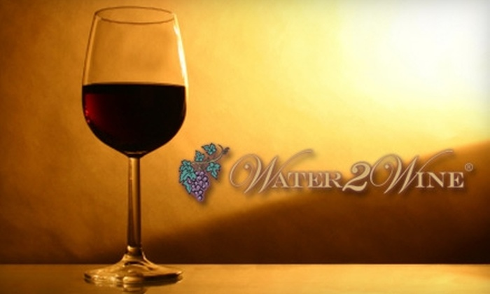 Water 2 Wine - Centennial: $30 for a Wine Tasting for Two, One Bottle of Wine, a Custom Label, and Two Engraved Souvenir Glasses from Water 2 Wine ($70 Value)