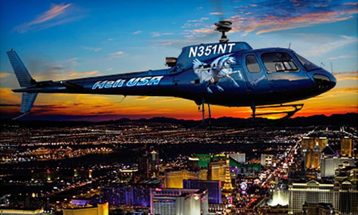 Heli USA Airways - Paradise: Nighttime Helicopter Las Vegas Strip Tour and VIP Nightclub Outing for Two or Four from Heli USA Airways (Up to 56% Off)
