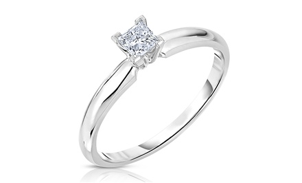 1/2-Carat Princess-Cut Diamond Solitaire Ring in 14K White Gold