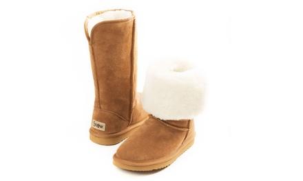 314bb9096758a Bottes femme en cuir entièrement fourrées en véritable laine mérinos ...