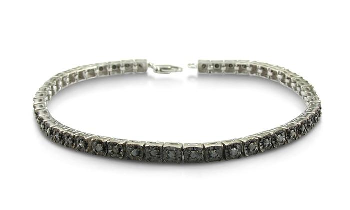 1 CTTW Black Diamond Tennis Bracelet: 1 CTTW Black Diamond Tennis Bracelet in Sterling Silver