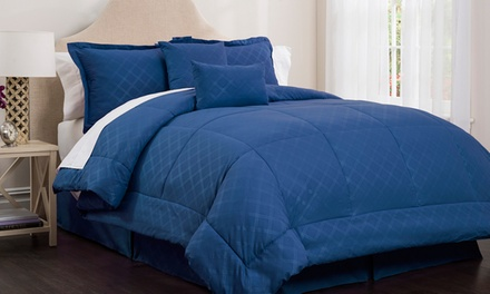 Clearance: Park Ave Collection by Hotel New York Embossed Plaid Comforter Set (6-Piece)