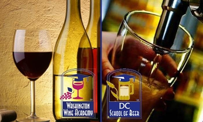 "Washington Wine Academy - Arlington: ""1-Hour"" Tasting Class from Washington Wine Academy. Choose from Wine or Beer."