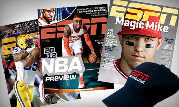 ESPN The Magazine Subscription: $15 for a One-Year Subscription to ESPN The Magazine and an ESPN Hat ($29.95 Value). Free Shipping.