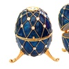 Musical Metallic Egg-Shaped Jewelry Box with Crystals
