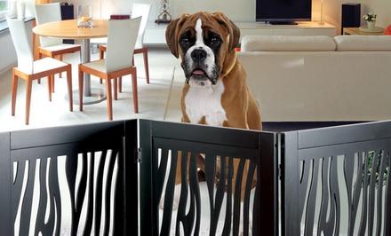 Zebra Pet Gate Wooden Pet Gate | Groupon