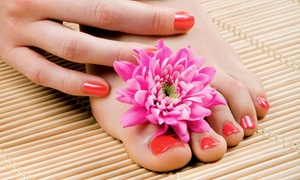 Absolute Bliss: Shellac Manicure and Traditional Polish Pedicure at Absolute Bliss (Up to 57% Off). Three Options Available.
