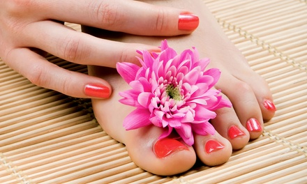 Shellac Manicure and Traditional Polish Pedicure at Absolute Bliss (Up to 57% Off). Three Options Available.