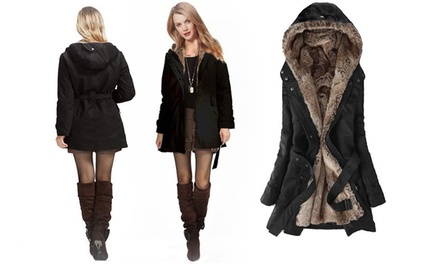 Women's Faux Fur Lined Winter Coat with Hood