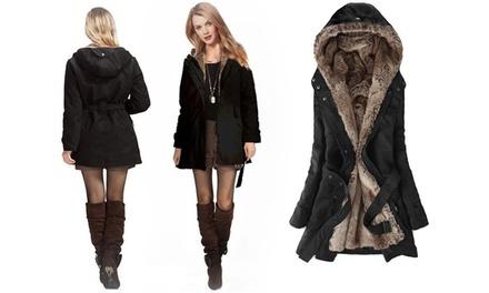 Women's Faux Fur Lined Winter Coat with Hood