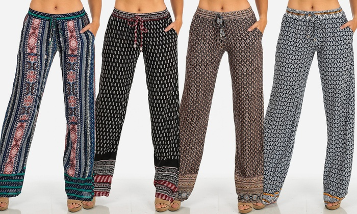 Women's Junior Pull-On Printed Palazzo Pants.Multiple Styles Available.