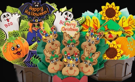 7-Cookie Halloween Bouquet, Available for Delivery on October 27, October 28, or October 31 (a $54.99 value) - Cookies by Design in