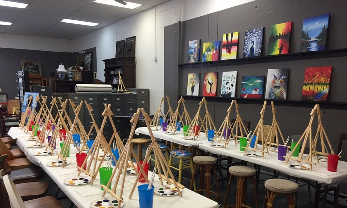 Painting classes with wine vintage post market place for Groupon painting class