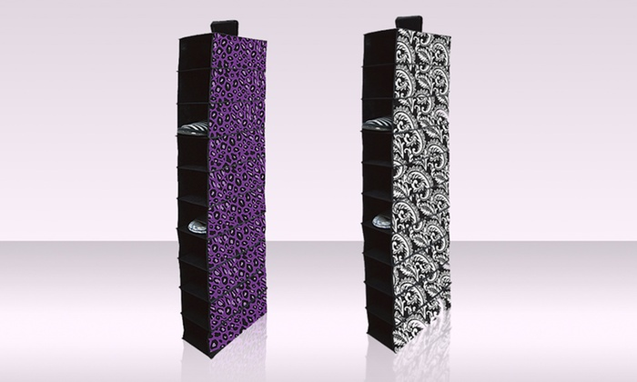 10-Shelf Hanging Closet Organizer: 10-Shelf Hanging Closet Organizer in Black Floral or Purple Cheetah. Free Returns.