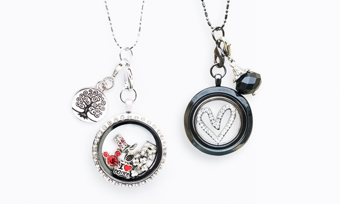 Stamp the Moment: 4 or 9 Charms with Options for Heart or Round Locket Necklace and Bracelet from Stamp the Moment (Up to 72% Off)