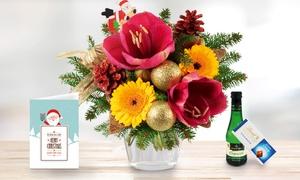 """Blumenhaus Ehrend: Blumenstrauß """"Weihnachtsamaryllis"""" mit individueller Grußkarte, Lindt Schokolade und Piccolo von Bluvesa (44% sparen*)"""