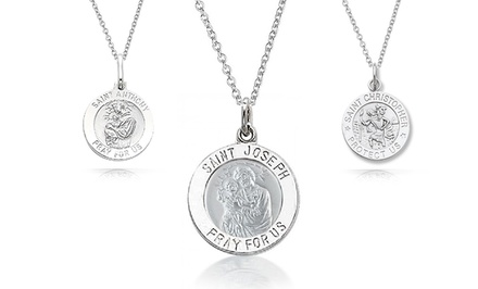 Sterling Silver Saint Medallion Charm Necklaces