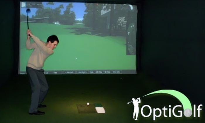 OptiGolf - Victor: $75 for Five-Pack of 18 Hole Golf Simulation at OptiGolf in Victor ($169 Value)