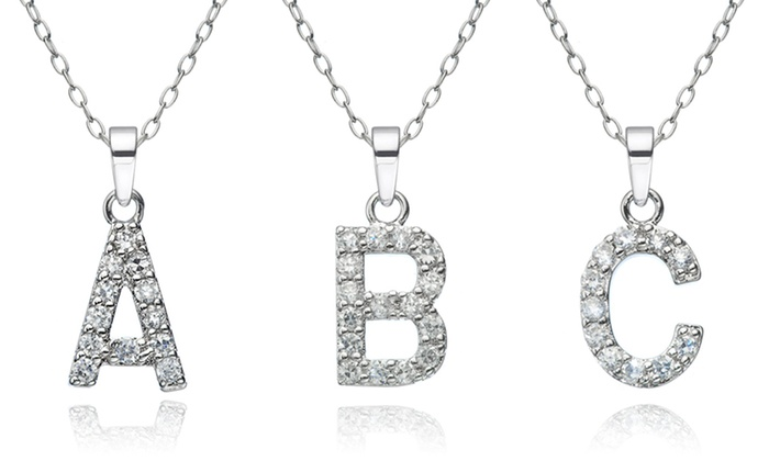 Sterling Silver Cubic Zirconia Initial Pendants: Sterling Silver Cubic Zirconia Initial Pendants. Multiple Letters Available. Free Shipping and Returns