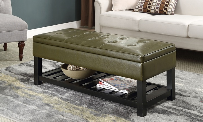 Storage bench with bottom shelf groupon goods - Bench at bottom of bed ...