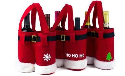 Santa Pants Wine Bags or Candy Bags Set (3-Pack)