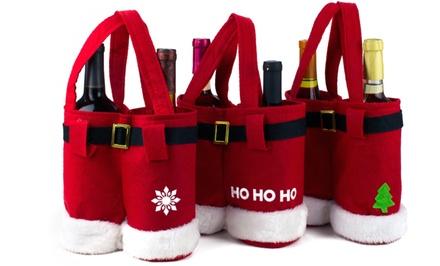 Santa Pants Wine Bags or Candy Bags Set (3-Pack)