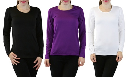 3-Pack of Women's Thermal Tops with Fleece Lining