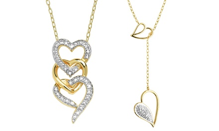 Morgan & Paige Diamond Accent Heart Pendants in Sterling Silver