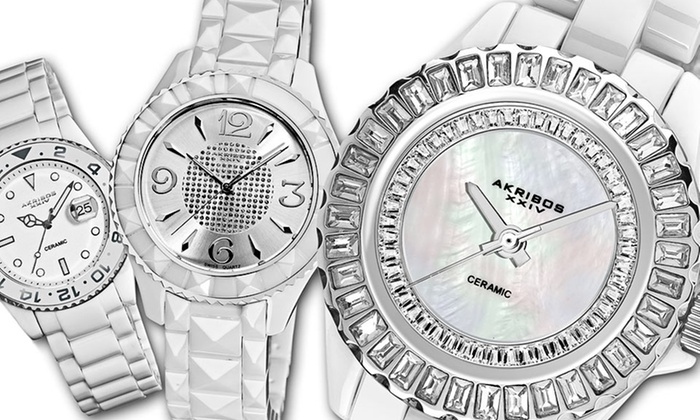 Akribos XXIV White Ceramic Watches for Men and Women: Akribos XXIV Ceramic Watches for Men and Women (Up to 93% Off). 12 Styles Available. Free Shipping.