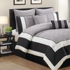 Spain Oversized Quilted Color Block Comforter Set (8-Piece)