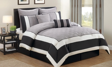 Spain Oversized Quilted 7-Piece Color Block Comforter Set