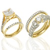 18K Gold-Plated Cubic Zirconia Band and Ring Set in Sterling Silver