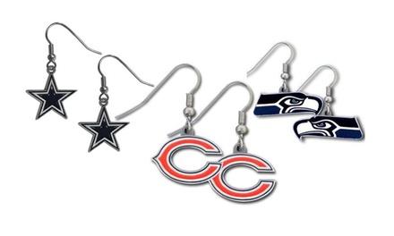 NFL Licensed Team Logo Earrings in Stainless Steel and Enamel