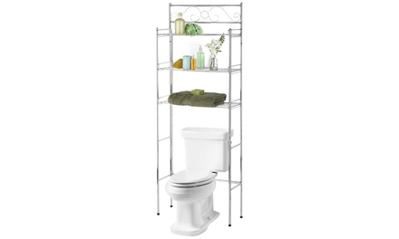 Popular Bath Silver Scroll Over the Toilet Space Saver
