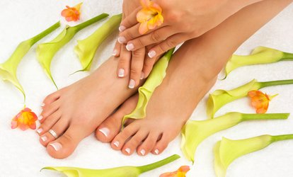 image for Manicure and Spa Pedicure or Shellac Manicure and Spa Pedicure at Grandeur Nails and Beauty Bar (Up to 44% Off)